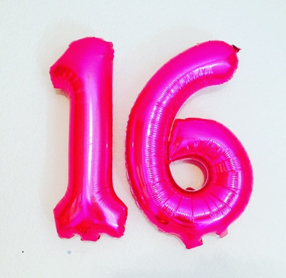 PINK 16 Numbers Number 16 Balloon 16th Birthday by ...