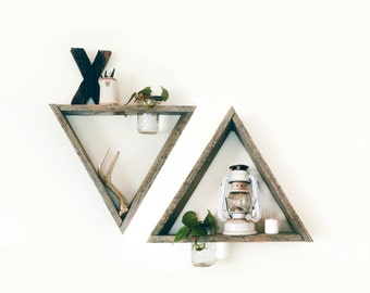 2 Reclaimed Wood Triangle Shelf Mason Jar Planter / barnwood shelf, barnwood decor, reclaimed wood shelf, display shelf, geometric shelf