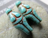 NEW GODDESS of the RIVERS . Czech Picasso Glass Beads (4 beads) 21 by 10 mm . tribal beads