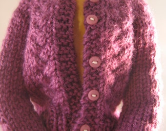 Hand Knit Doll Clothes Purple Grape Cardigan Sweater fits 16 inch fashion doll such as Tonner Tyler