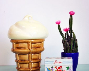 Vintage 1960s Ice Cream Cone Canister/ Cookie Jar