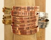 Mantra Cuff | Customize Your Bracelet | Hand-stamped Bracelet Cuff | Silver Brass or Copper | Custom Text | Custom Font | B90003