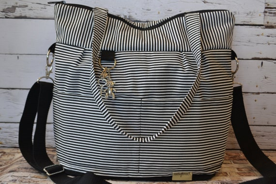 diaper bag in black and white stripes black by darbymack on etsy. Black Bedroom Furniture Sets. Home Design Ideas