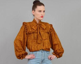 Vintage 80s SILK Ruffled Blouse Pussy Bow Neck Tie Poet Sleeve Shirt Gold Black Medium M