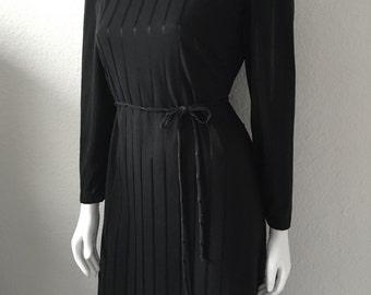 Vintage Women's 80's Black Dress, Striped, Polyester, Long Sleeve (S/M)