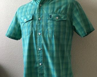 Vintage Men's 90's Penguin Shirt, Green, Turquoise, Short Sleeve (M)