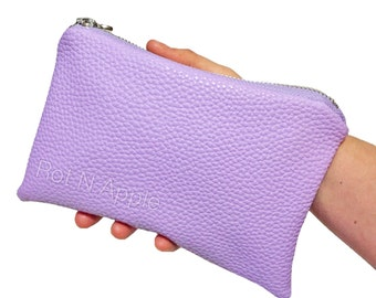 Lavender Faux leather fully lined zipper pouch- faux leather wallet - Wallet - Money Wallet - Clutch - Makeup Bag - Lavender Clutch