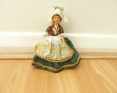 Miniature Doll Vintage Figurine Green Dress Trachten Traditional Dress