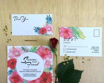 Printable Wedding Invitation - Hibiscus Wedding Invitation Suite (3 Pieces)