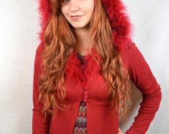 Wild 1960's Vintage Red Marabou Hoooded Lingerie Robe Jacket Peignoir