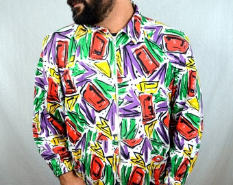 Vintage 80s Rainbow Neon Geometric Sweatshirt