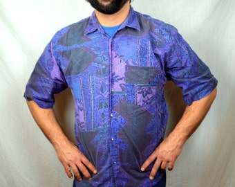 Vintage Code Zero 1980s 90s Purple Surfer Button Up Geometric Shirt