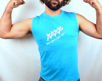 Vintage 80s Dance Your Hippo Off - Blue Muscle Tee Tshirt