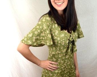 Vintage 80s 90s Byer Too Floral Garden Summer Mini Dress