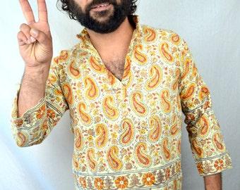 Vintage Ethnic Boho 70s Batik Dashiki Caftan Tapestry Tunic Top Shirt