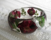 True Love-Red Roses,Leaves Pressed Flower 8 Inch Resin Bangle-Victorian,Unique,One of A Kind-Perfect For A Gardener-Symbol Of True Love