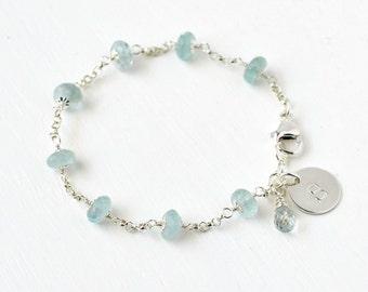 Personalized Aquamarine Bracelet / Sterling Silver Aquamarine / March Birthstone Jewelry / Initial Charm Bracelet / Blue Aquamarine