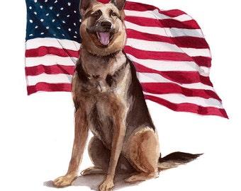 Watercolor Custom Pet Portrait *CONVO FOR AVAILABILITY*  Dog Portrait, German Shepherd Portrait, K-9 Portrait, Memorial Portrait, Dog Lover