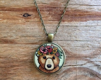 Mama Bear with Floral Crown Necklace - Original Watercolor Hand Painted Pendant Necklace, Woodland Bear Illustration