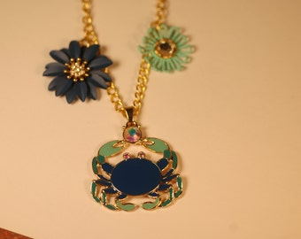 Gold Tone Blue Crab Charm Necklace