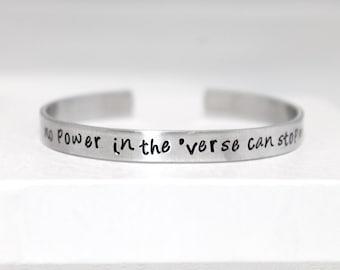 No Power In the Verse Can Stop Me, Aluminum Bracelet, Fan Jewelry, Geek Gift, Sci-fi Jewelry, Scifi, Nerd Fashion