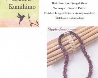 Sipping Sangiovese, A Beaded Kumihimo Necklace designed by Diana Miglionico-Shiraishi and featured in Bead Trends, Beaded Kumihimo Tutorial