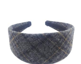 Wide Plaid Headband - Gray, Black, Mustard Yellow  - Preppy Adult Headband Woman, Big Girl Headband, Blair Waldorf Gossip Girl Style