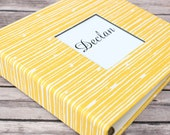 Baby  Book - Yellow and White Lines  (80 designed journaling pages & personalization included with every album)