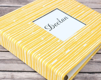 Baby Book, Baby Gift, Baby Album, Baby Memory Book, Baby Keepsake, Modern Baby Book, Yellow and White Lines