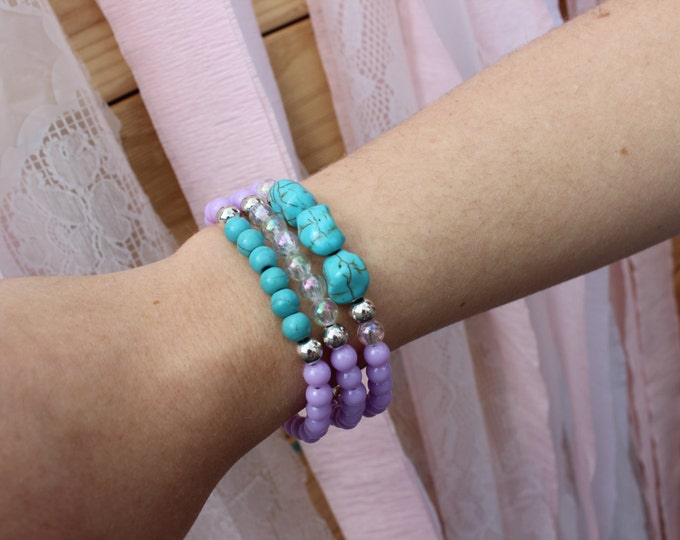 The Coral Sea Stack. Stacking Bracelets.