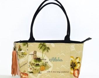 Aloha Purse - Made in Hawaii - Maui - Hawaii Island - Pineapples - zippered top - pockets