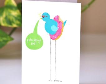 Palm Springs Bird Greeting Card: birthday card, folk art, palm springs ca, best housewarming gift, bachelorette card, palm springs card