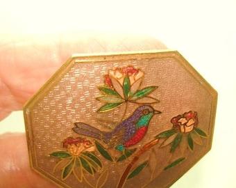 Bird Flower Enamel  Belt Buckle Multi  Tone
