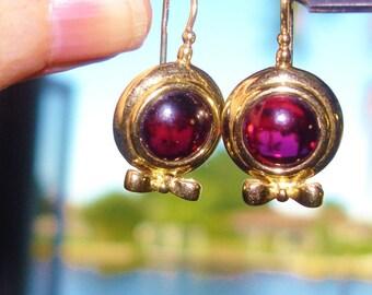 Amethyst Color Stone Gold Tone Dangle Earrings