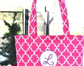 Personalized tote - Tote Bag With Letter L / diaper bag /  baby bag / handmade bag -  purse
