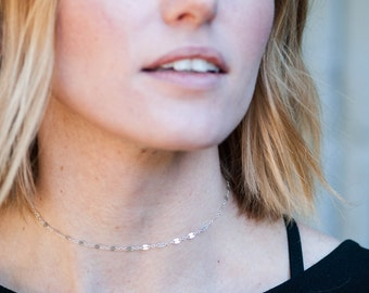 Dapped Chain Choker Necklace in Gold or Silver,  Choker Chain Necklace, Layering Sterling Silver Choker Necklace Chain Shiny, Chain Everyday