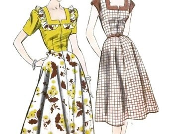 Vintage 1950s Square Neckline Dress or Housecoat Pattern Optional Ruffle Trim Day or Evening Length 1952 Advance 6167 Bust 36