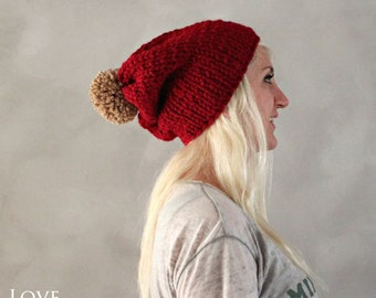 Pom Pom Beanie- Red Camel Slouchy Beanie- Christmas Hat- Gift for Her Hand Knitted Beanie- Womens Gift Winter Accessories Handmade Beanie