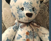 Jointed Patchwork Teddy Bear - Blue On White Floral, Brown With Gold Floral Prints