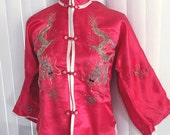 Vintage Red Silk Asian Dragon Embroidered Top Blouse -- Size M