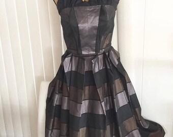 Sale Gorgeous Vintage 1950's Strapless Rockabilly Tafetta Dress -- Size S