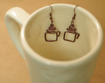 Coffe Mug Handmade Wire Earrings - Hammered Artisan Earrings- Nickel Free Hooks - Metal, Hammered, Coffee Lover, Mug, Trending, Latte