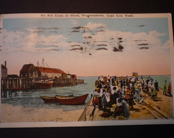 Vintage Postcard - Provincetown An Art Class 1938 Cape Cod Mass - posted