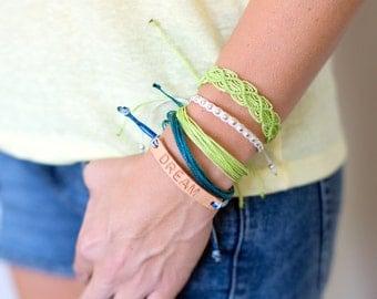 Lime green string bracelet. Micro macrame jewelry. Green thread bracelet. Green wax cord. Lime green jewelry. Costa Rica bracelet. Handmade.