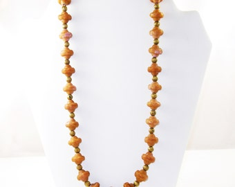 Vintage Long Single Strand Pinkish Tan and Brass Beaded Necklace  (N-4-2)