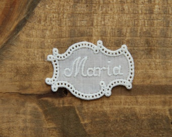 Maria Vintage embroidered lace tag name MARIA personalize alphabet letter initial tag label mark laundry washing personalise by yebisu