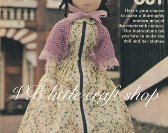 Victorian rag doll sewing pattern. Instant PDF download!
