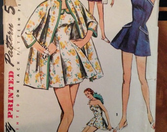 Vintage 50s Bathing Swim Suit Pattern Simplicity 34 bust  cover up beach coat strapless rockabilly pin up