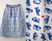 Vintage 60s Penguin wrap around skirt / Novelty Folk Kitschy Penguin print skirt