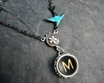Antique Typewriter Key Necklace Letter M